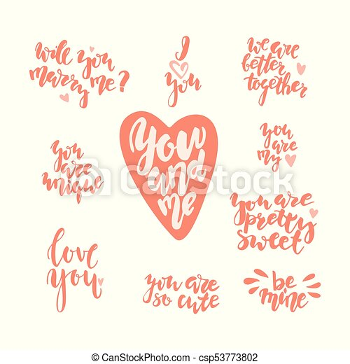 Hand Drawn Letterind Love Quotes To The St Valentinne S Day Stock