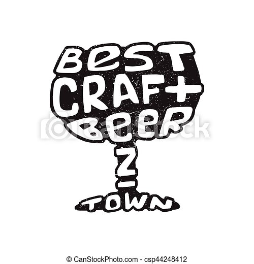 Hand Drawn Lettering Best Craft Beer In Glass Hand Drawn Handmade