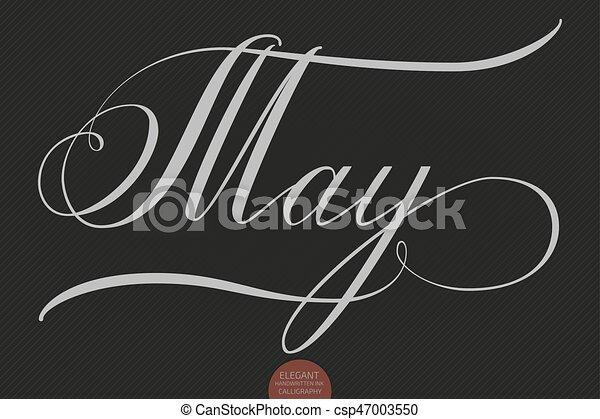Hand drawn lettering may. elegant modern handwritten clipart