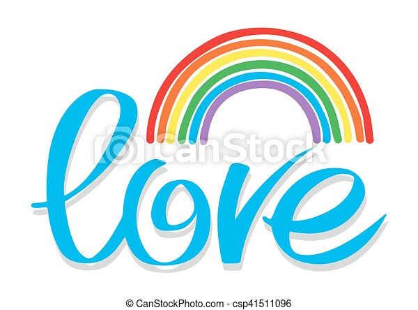 Hand drawn letters with rainbow isolated on white background - csp41511096
