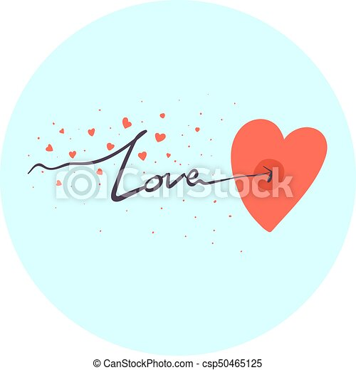 Hand Drawn Love Symbol With Love Word Arrow Piercing Red Heart Cute