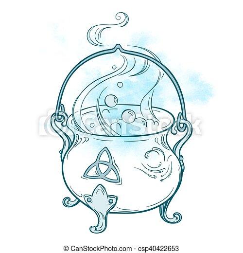 Hand drawn magic cauldron vector