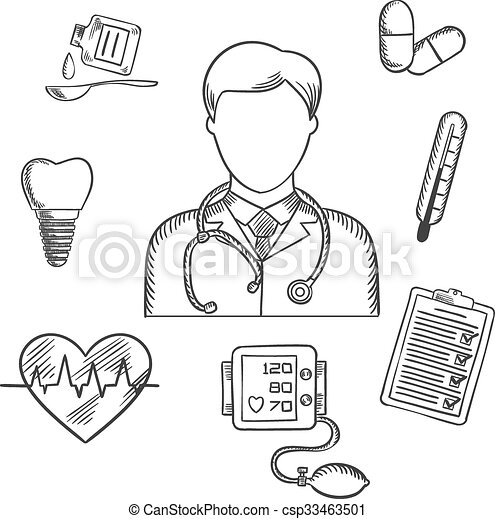 hand drawn medical items and doctor vector clipart_csp33463501 hand drawn medical items and doctor hand drawn medical icons with a