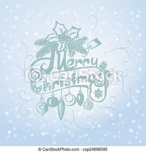 Hand Drawn Merry Christmas Decoration Of Calligraphic Design Element. - csp24696595