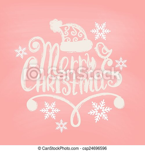 Hand Drawn Merry Christmas Decoration Of Calligraphic Design Element. - csp24696596