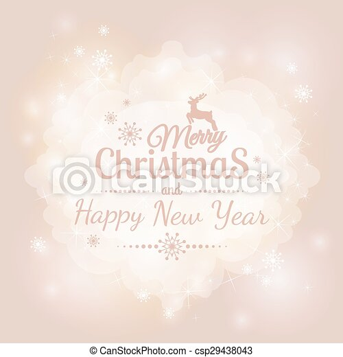 Hand Drawn Merry Christmas Decoration Of Calligraphic Design Element with reindeer - csp29438043