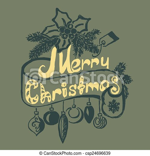 Hand Drawn Merry Christmas Decoration Of Calligraphic Design Element. - csp24696639
