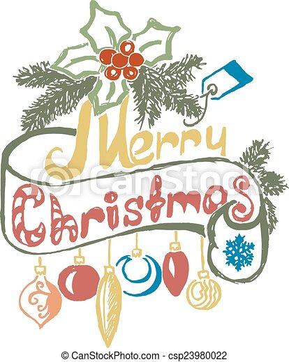 Hand Drawn Merry Christmas Decoration Of Calligraphic Design Element. - csp23980022