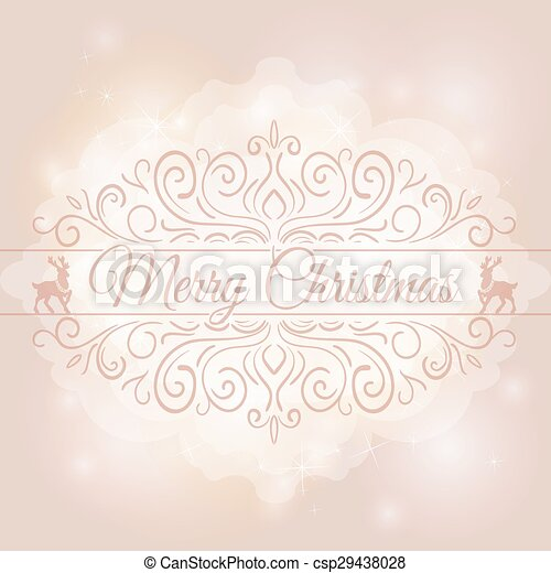 Hand Drawn Merry Christmas Decoration Of Calligraphic Design Element with reindeer - csp29438028