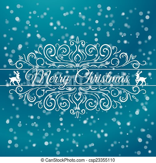 Hand Drawn Merry Christmas Decoration Of Calligraphic Design Element with reindeer - csp23355110