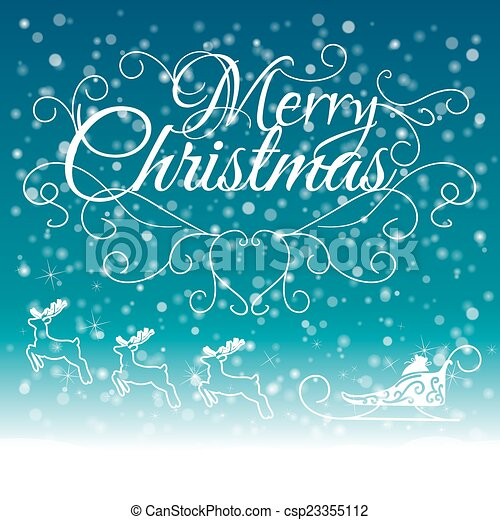 Hand Drawn Merry Christmas Decoration Of Calligraphic Design Element with reindeer - csp23355112