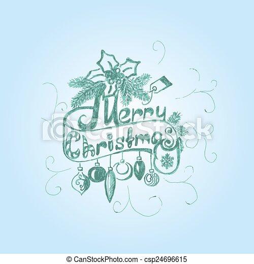 Hand Drawn Merry Christmas Decoration Of Calligraphic Design Element. - csp24696615