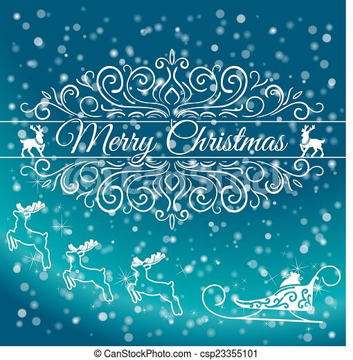 Hand Drawn Merry Christmas Decoration Of Calligraphic Design Element with reindeer - csp23355101