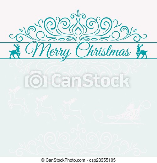 Hand Drawn Merry Christmas Decoration Of Calligraphic Design Element with reindeer - csp23355105