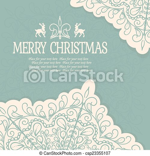 Hand Drawn Merry Christmas Decoration Of Calligraphic Design Element with reindeer - csp23355107