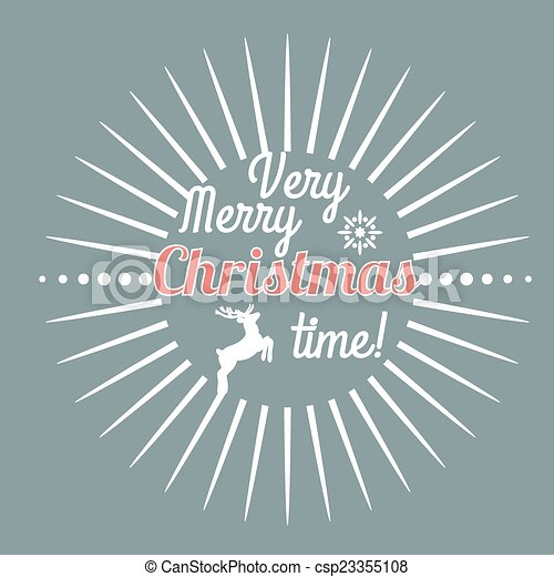 Hand Drawn Merry Christmas Decoration Of Calligraphic Design Element with reindeer - csp23355108