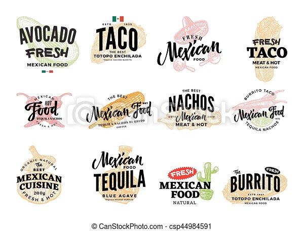 hand drawn mexican food logos hand drawn mexican food logos with rh canstockphoto com mexican fast food logos mexican fast food logos
