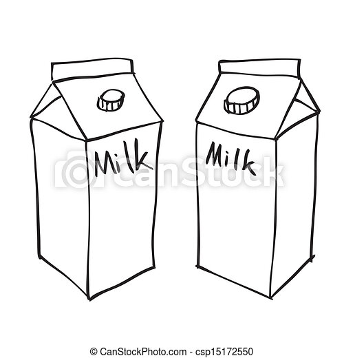 hand drawn milk box on white