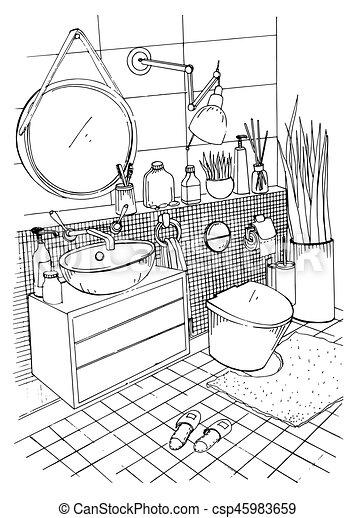 Hand drawn modern bathroom interior design. Vector sketch illustration. - csp45983659