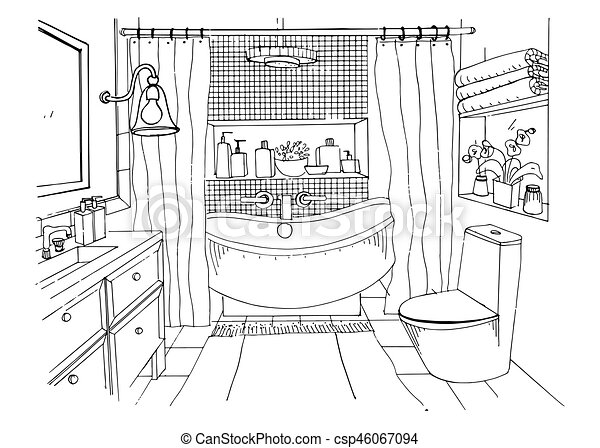 Hand drawn modern bathroom interior design, Vector sketch illustration. - csp46067094