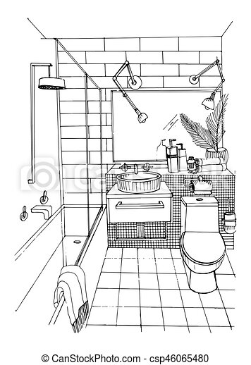 Hand drawn modern bathroom interior design. Vector sketch illustration. - csp46065480