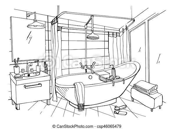 Hand Drawn Modern Bathroom Interior Design Vector Sketch - Drawing of bathroom
