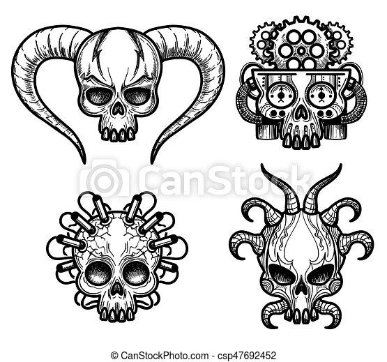 Hand drawn monsters skull set vector illustration. evil... clipart ...