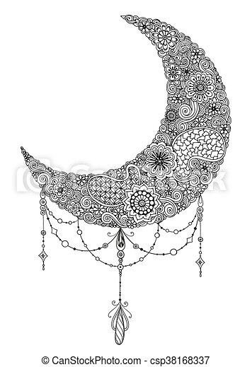 Hand Drawn Moon With Flowers Mandalas And Paisley Black And