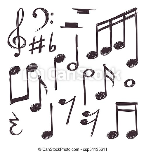 Hand Drawn Music Note Vector Musical Symbols Isolated On White Doodle Collection