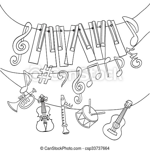 Hand Drawn Musical Instruments Piano Keys Musical Notes Hanging On