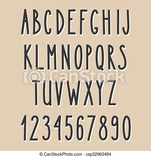 Hand Drawn Narrow Alphabet Vector Simple Written Letters Thin San Serif 3d Font Decorative For Books Posters Postcard Web