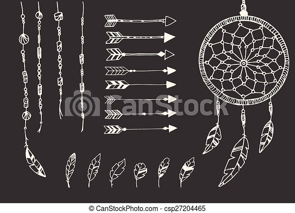 Hand drawn native american feathers, dream catcher, beads and arrows - csp27204465