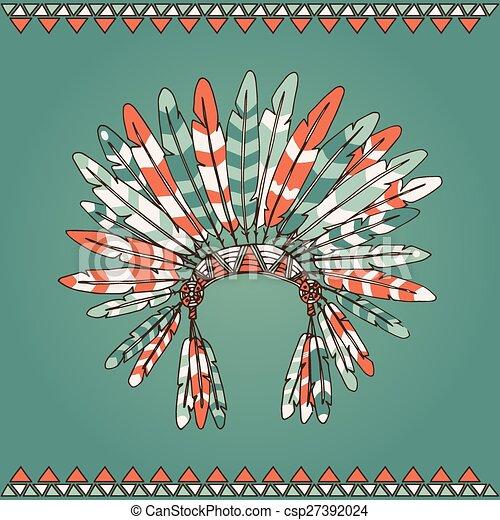 Hand drawn native american indian chief headdress - csp27392024