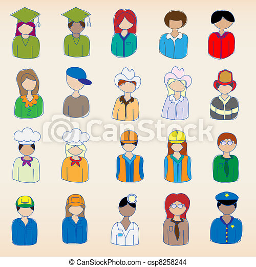 Hand Drawn Occupation Icons - csp8258244