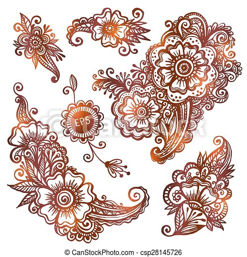 Hand-drawn ornaments set in Indian mehndi style - csp28145726