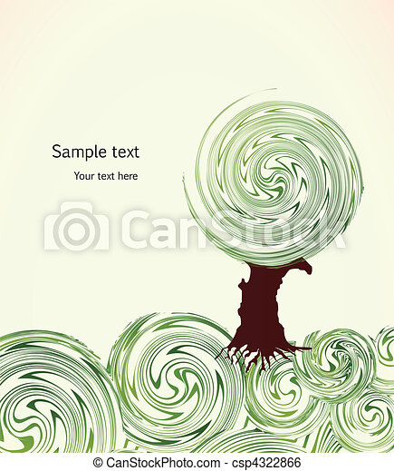 Hand Drawn ornate swirl grass and tree. Vector - csp4322866