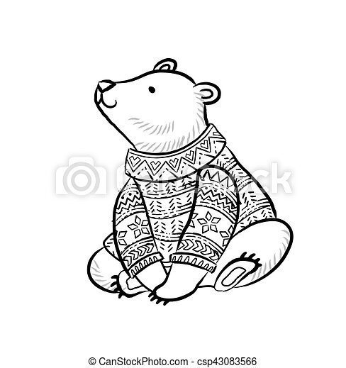 Hand Drawn Outline Print With Polar Bear In Winter Sweater