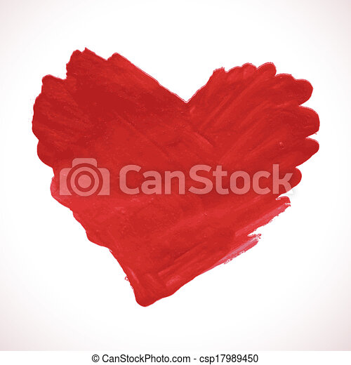 Hand-drawn painted red heart, vector element - csp17989450