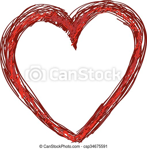 Hand-drawn painted red heart, vector element for your design - csp34675591