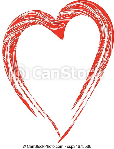 Hand-drawn painted red heart, vector element for your design - csp34675586