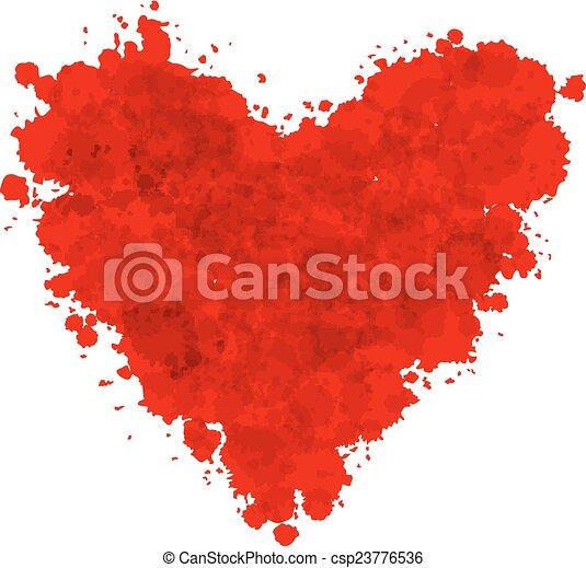 Hand-drawn painted red heart, vector element for your design - csp23776536