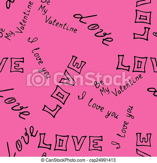 hand-drawn pattern with word love - csp24991413