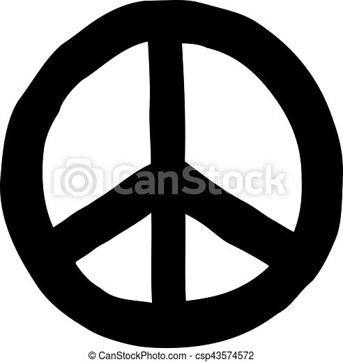 Hand drawn peace sign - csp43574572