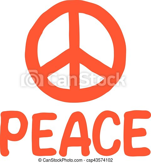 Hand drawn peace sign with word - csp43574102