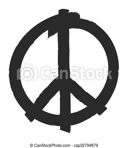 hand drawn peace symbol - csp32794879