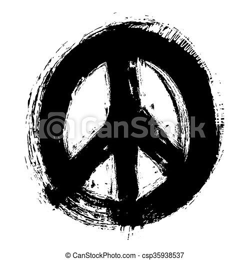 hand drawn peace symbol, vector - csp35938537
