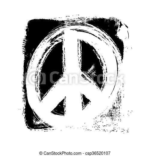 hand drawn peace symbol, vector - csp36520107