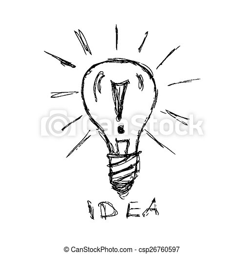 Hand Drawn Pen And Ink Style Illustration Of A Light Bulb Hand