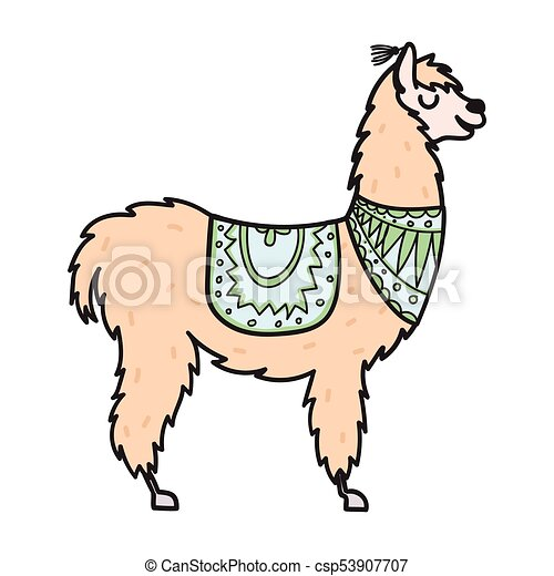 hand drawn peru animal alpaca vicuna vector illustration rh canstockphoto com alpaca clipart alpaca clip art black and white