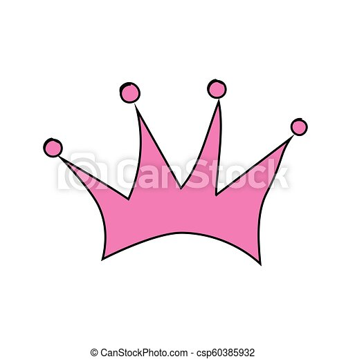 Vector Illustration Hand Drawn Pink Crown On A White Background